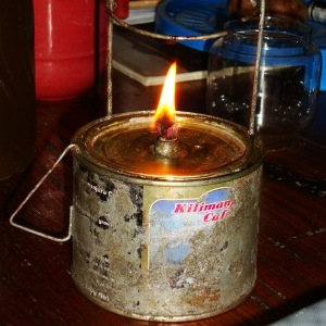 Small lantern burning with Jatropha seed oil.